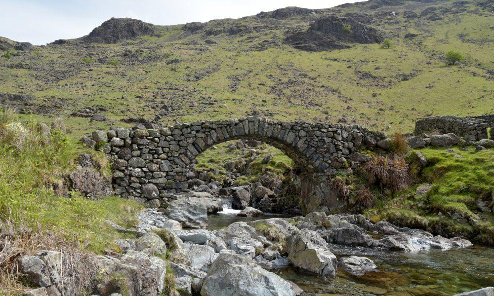 Lingcove Bridge, a packhorse bridge high up in Eskdale, Lake District